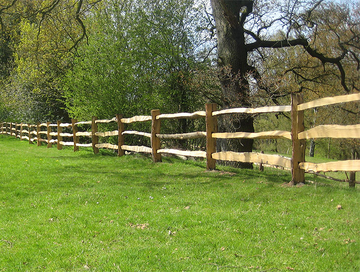 <span>Ref: A1</span><br>A three rail cleft chestnut fence for The National Trust at Quarry Bank Mill, Cheshire; materials approx £20.15/metre inc. VAT.