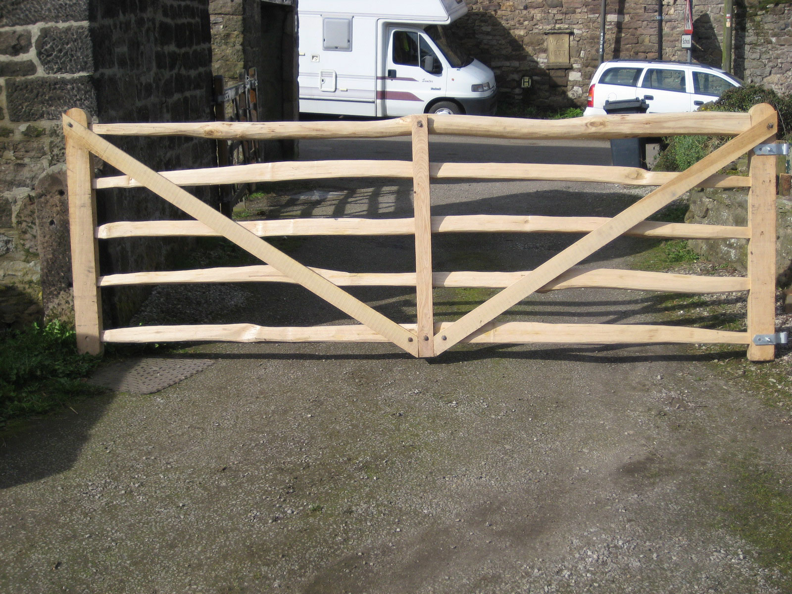 <span>Ref: F8</span><br>A half diamond pattern gate with all rails of cleft chestnut, the remaining parts of sawn oak, sent to Ireland, 4' x 10' long; £1056 inc VAT.