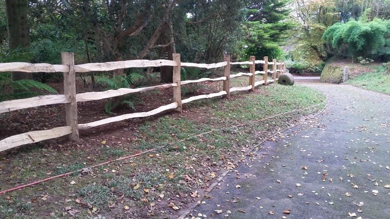 <span>Ref: A25</span><br>A 3 rail cleft chestnut fence sent by pallet to Cornwall, installed by the client; materials approx £20.15/metre inc. VAT.