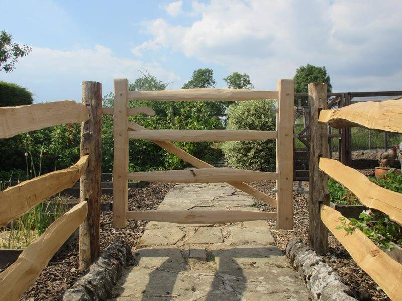 <span>Ref: F5</span><br>A cleft gate made to match the cleft chestnut fencing, leading to an allotment, Ashbourne, Derbyshire, 3' x 4' wide; £360 inc VAT.""