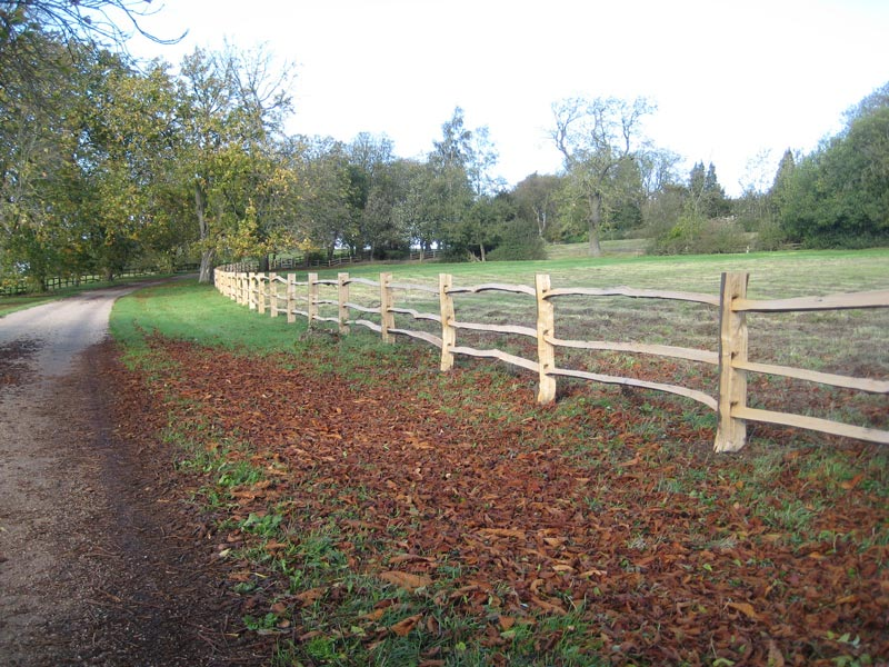 "<span>Ref: A11</span><br>This chestnut fence at 3'6"" high separates the drive from the animals in the fields; materials approx £20.15/metre inc. VAT."