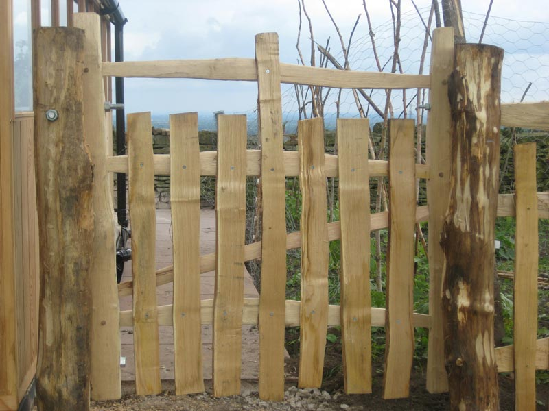 <span>Ref: F26</span><br>A half picket gate made entirely from cleft chestnut 4' x 4' wide, Lymme Park, Cheshire; £396 inc VAT.