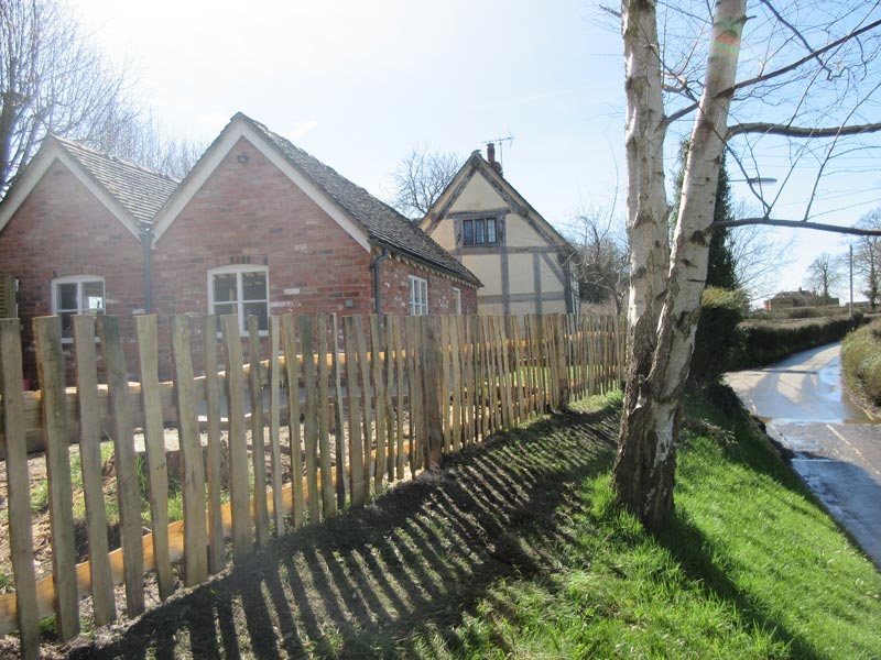 <span>Ref: A36</span><br>Cleft pale fence at 4' with cleft rails morticed into posts, stops children tumbling into the road in this Grade 2 listed cottage, Staffordshire; materials approx £35.54/metre inc. VAT
