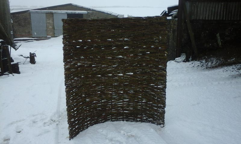 <span>Ref: B11</span><br>This curved steel frame woven with willow makes a moveable screen that can be anchored to the ground; 6' x 5' wide £200 inc. VAT