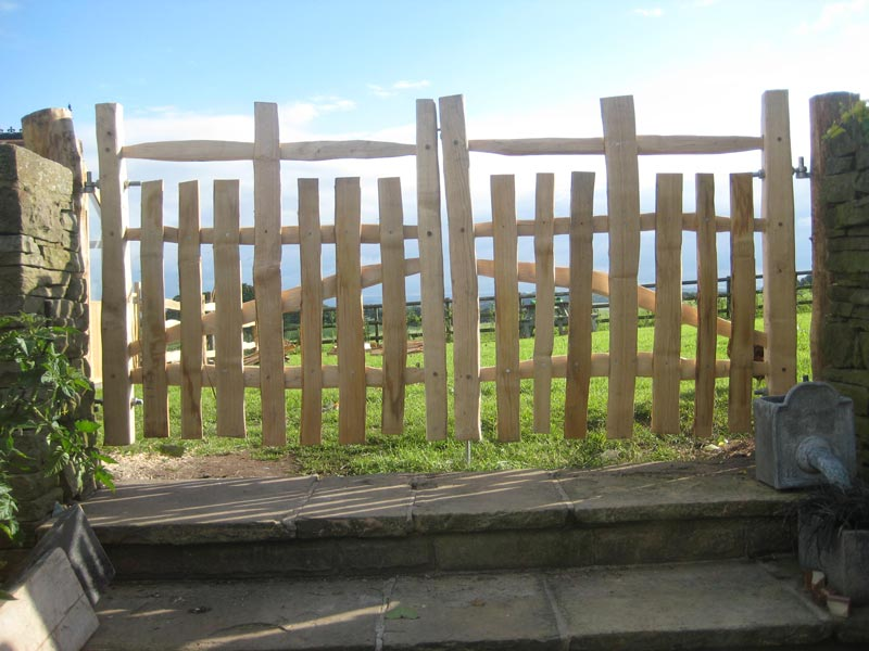 <span>Ref: F27</span><br>Double half picket gates to match medieval deer park fencing, 4' x 4' wide, Lymme Park, Cheshire; £396 inc VAT each.