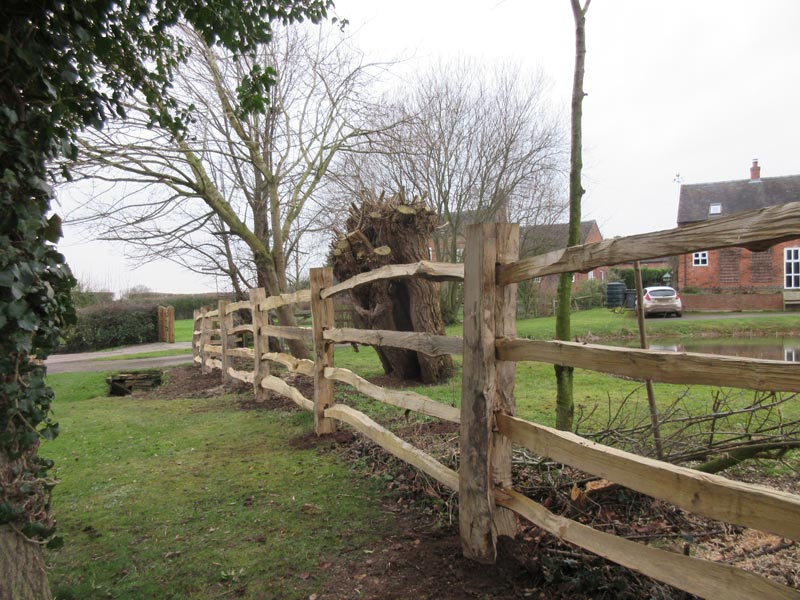 <span>Ref: A27</span><br>Four rail cleft chestnut with square cleft posts, as compared to half round posts, Ashbourne, Derbyshire; materials approx £25.56/metre inc. VAT.