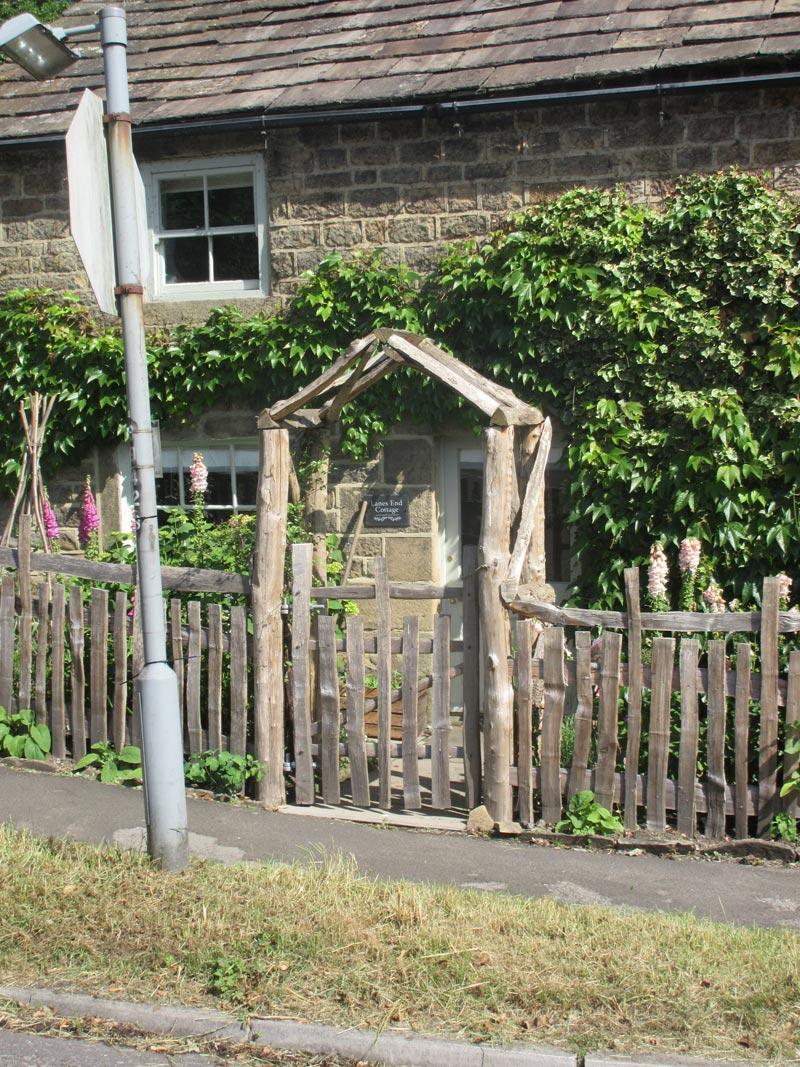 <span>Ref: F28</span><br>A half picket gate to match the medieval deer fencing either side, 4' x 3' wide, Grindleford, Derbyshire; £396 inc VAT.