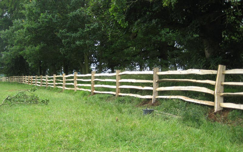 <span>Ref: A29</span><br>Heavy duty chestnut estate fencing, designed to last, Blithfield Manor, Staffordshire; materials approx £25.56/metre inc. VAT.
