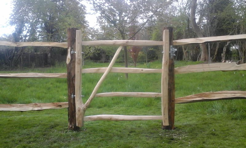 <span>Ref: F22</span><br>Natural fork gate 4' x 3' wide, makes the gateway to this cleft fence stand out, Cotswolds; £432 inc VAT.