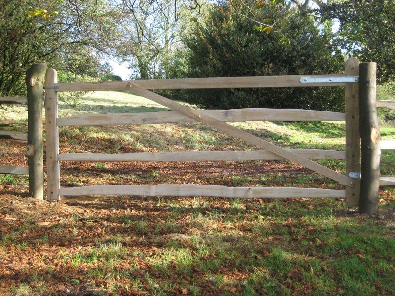 <span>Ref: F10</span><br>A sawn oak gate with cleft chestnut rails to match the adjacent cleft fencing, Ashbourne, Derbyshire, 4' x 10' long; £1056 inc VAT.
