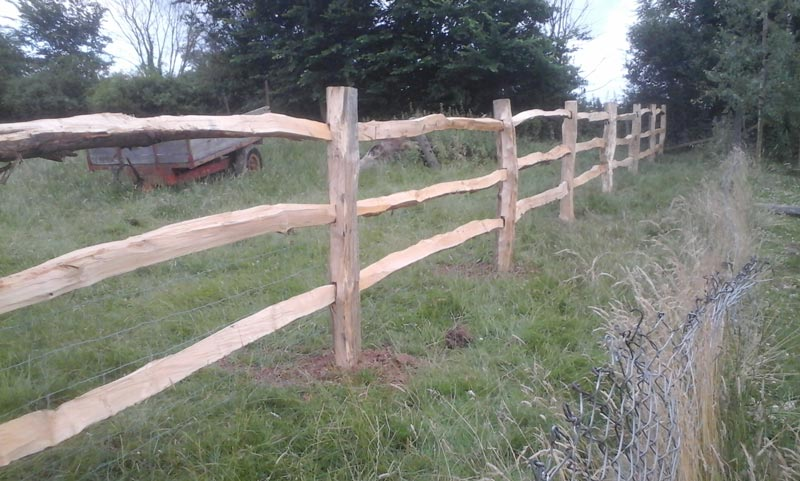 <span>Ref: A23</span><br>Square cleft chestnut posts replacing an old fence in this pony paddock, Southwell, Nottinghamshire; materials approx £20.15/metre inc. VAT