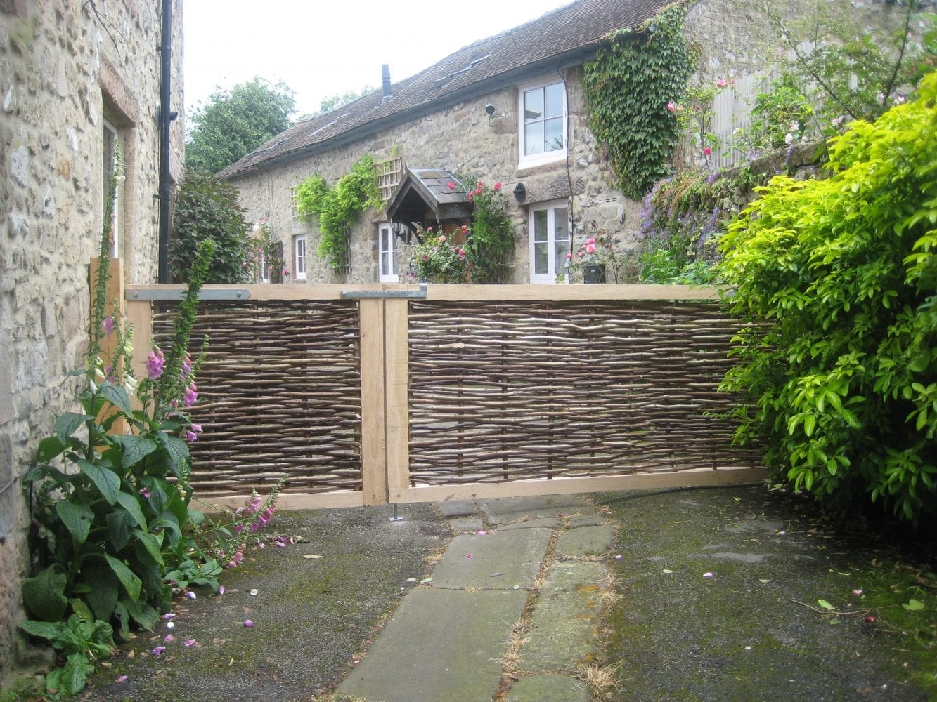 <span>Ref: F36</span><br>Hazel driveway gate 6' x 3'  with pedestrian gate 3' x 3' wide, Winster, Derbyshire; left gate £300 and right gate £560 inc VAT.